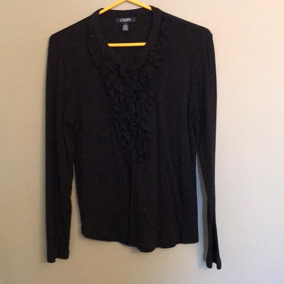 Chaps black ruffled shirt